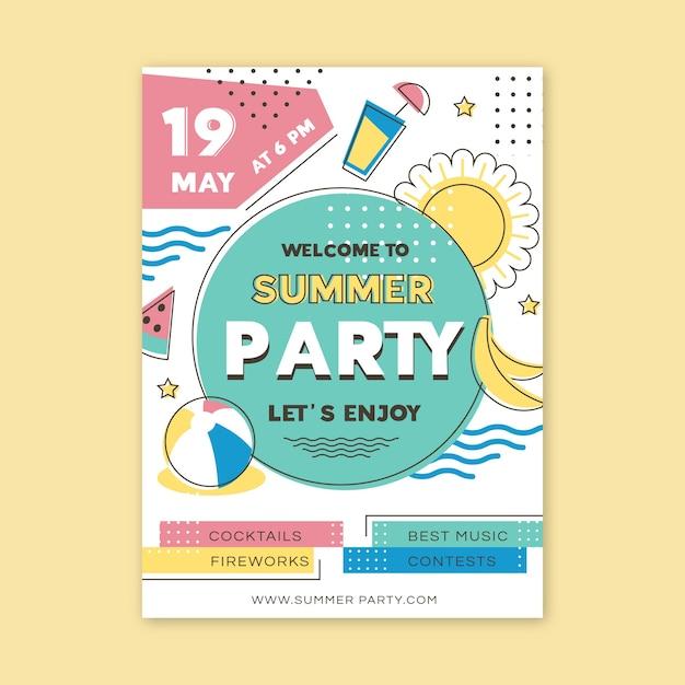 Tema poster festa estiva Vettore gratuito