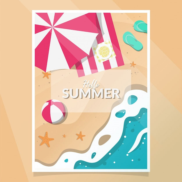 Summer party poster vector Premium Vector