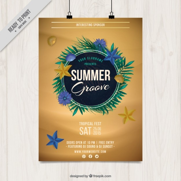 Summer party poster with palm leaves Free Vector