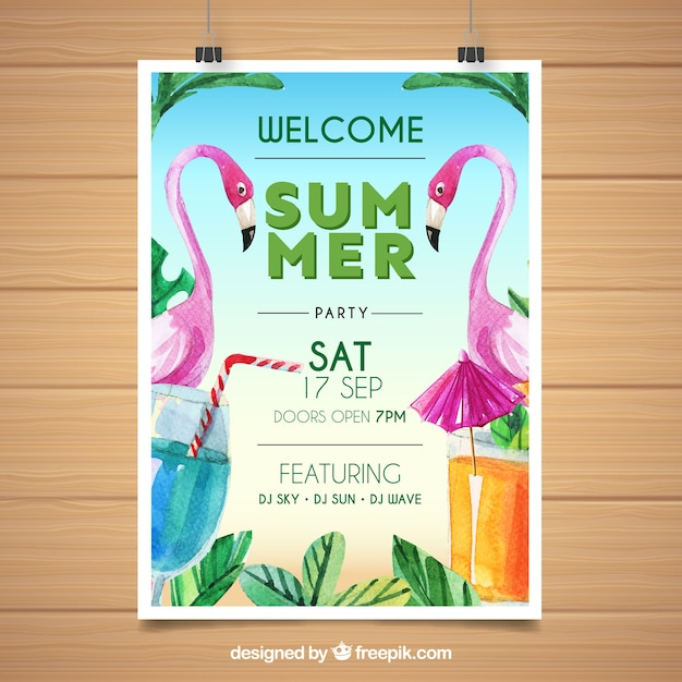 Summer party poster with watercolor flamingos Free Vector
