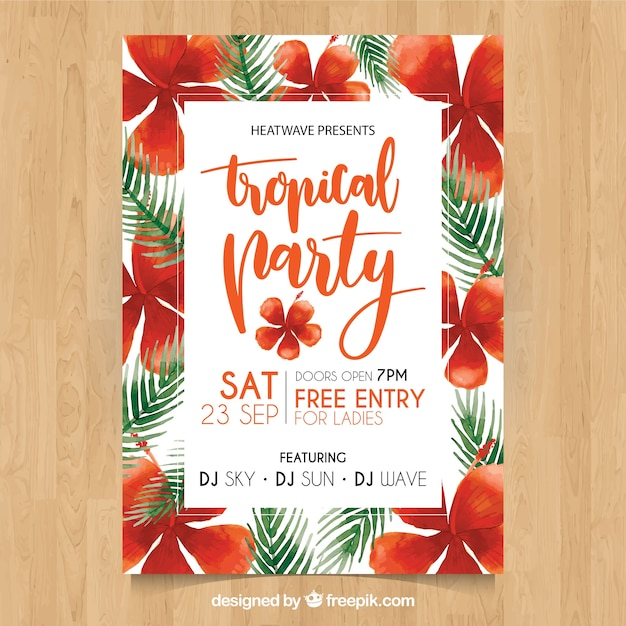 Summer party poster with watercolor tropical\ flowers and leaves