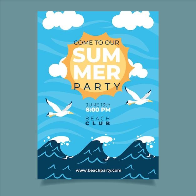 Летняя вечеринка постер с волнами и птицами Бесплатные векторы