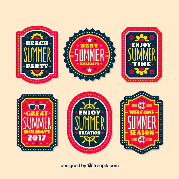 Summer party retro stickers Free Vector