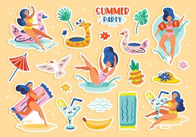 Summer party set of elements, clip art. summer seaside beach pool party. young women, drinks, fruits, animals, clothing. flat  illustration icon sticker isolated Premium Vector