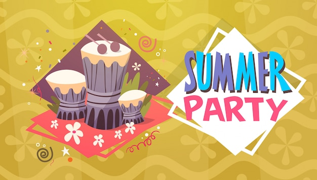 Summer party vacation sea travel retro banner seaside holiday Premium Vector