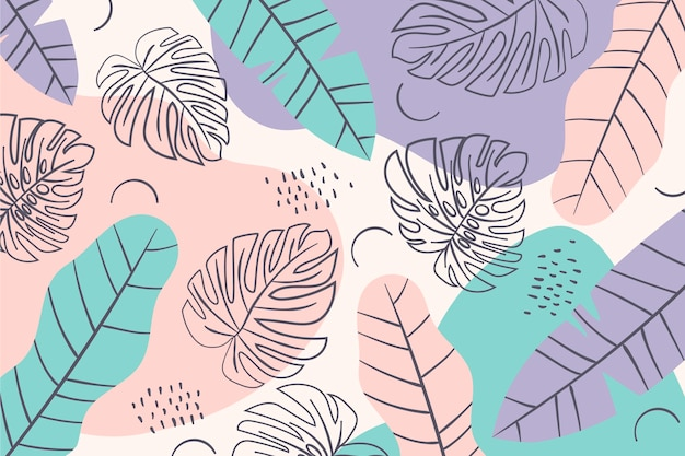 Summer pattern background minimal coloured leaves Free Vector