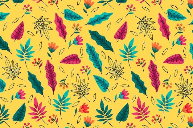 Летний узор фоновых видов листьев Бесплатные векторы