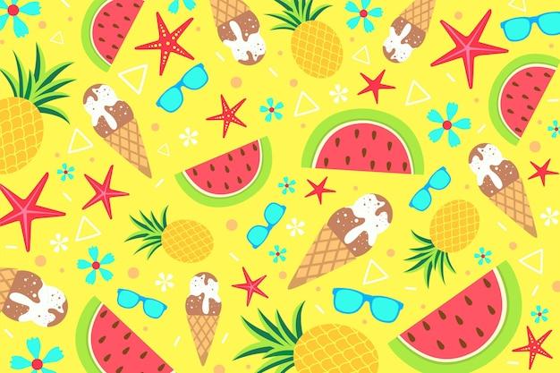 Summer pattern background for zoom Premium Vector