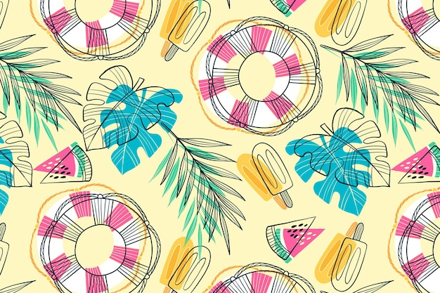 Summer pattern - background for zoom Free Vector