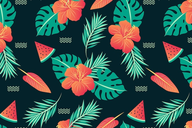 Summer pattern background for zoom Free Vector