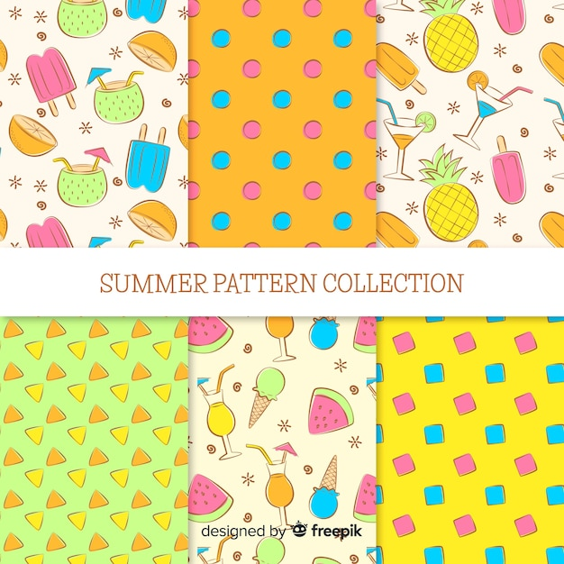 Summer pattern collectio Free Vector