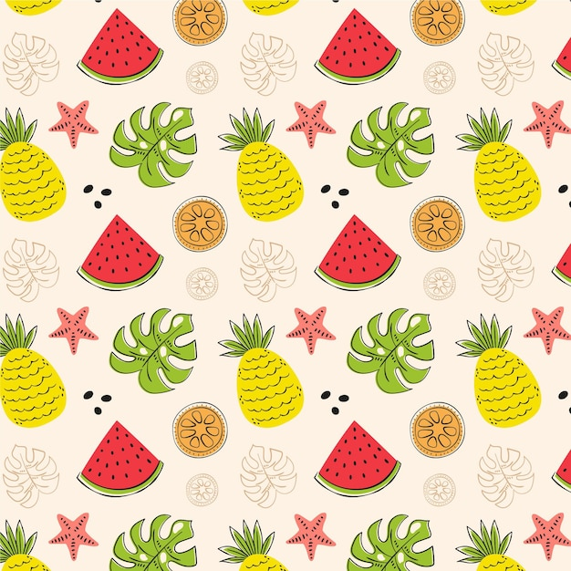 Summer pattern collection concept Free Vector