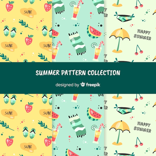 Summer pattern collection Free Vector