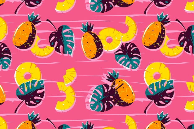 Summer pattern design with pineapple Free Vector