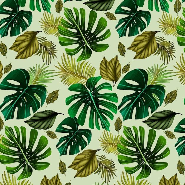 Illustrazione del modello di estate con foglie Vettore gratuito