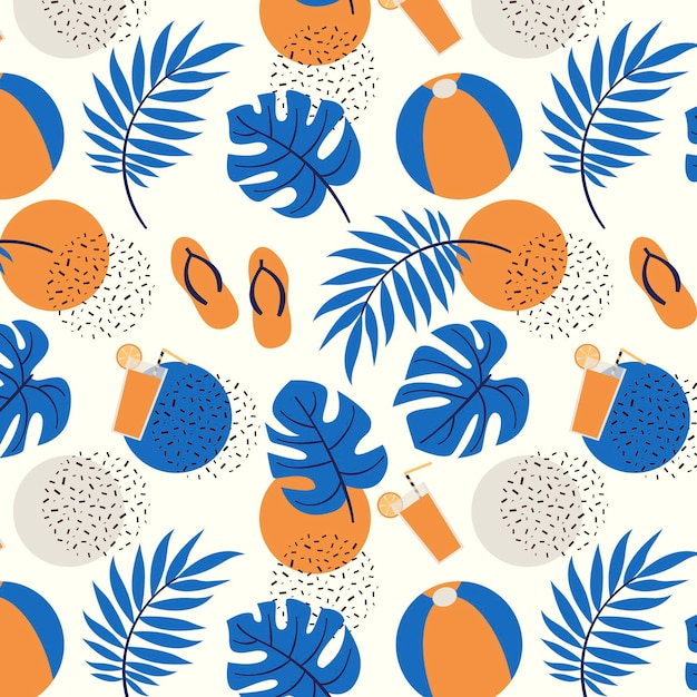 Летний шаблон с тропическими листьями и пляжный мяч Premium векторы