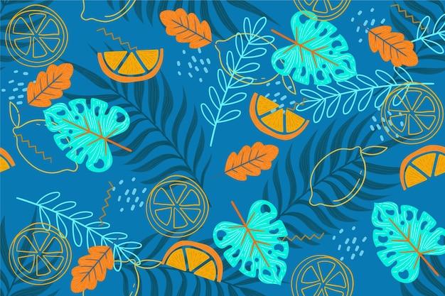 확대 / 축소 디자인을위한 여름 패턴 벽지 무료 벡터