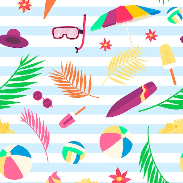 Summer pattern with beach objects and accessories Premium Vector