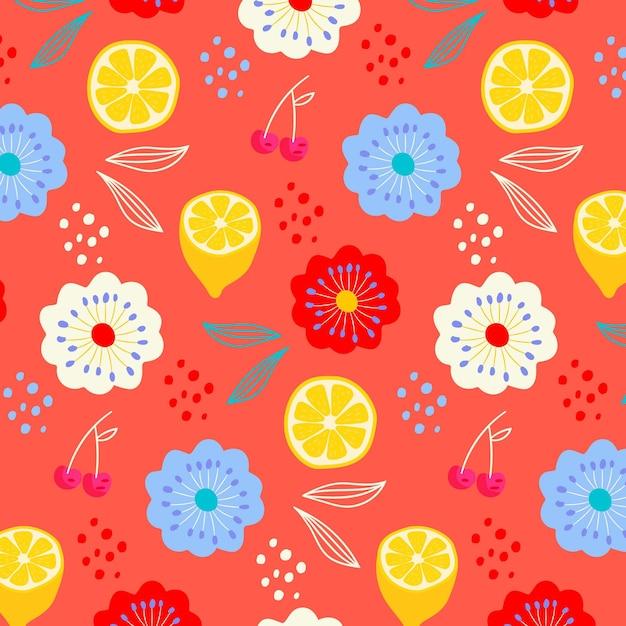 Modello estivo con fiori e limoni Vettore gratuito