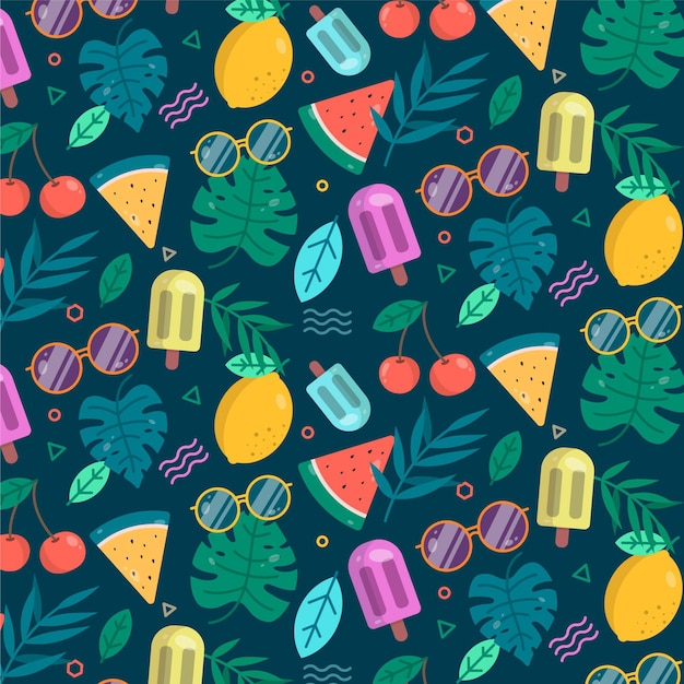 Summer pattern with fruits and ice cream Premium Vector