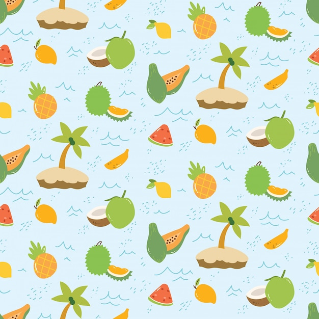 Summer pattern with fruits and island Premium Vector