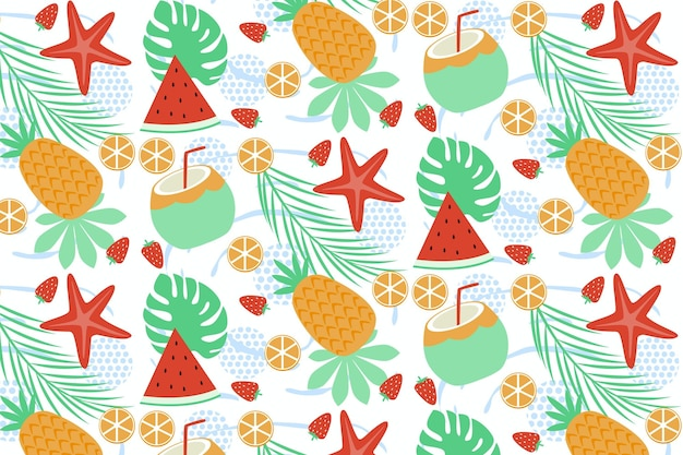 Summer pattern with fruits and sweet treats Free Vector
