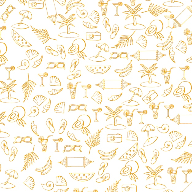Summer pattern with vacation and travel icons Premium Vector