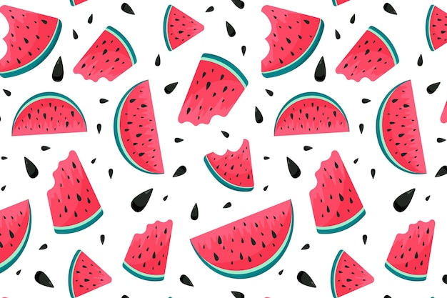 Summer pattern with watermelon Free Vector