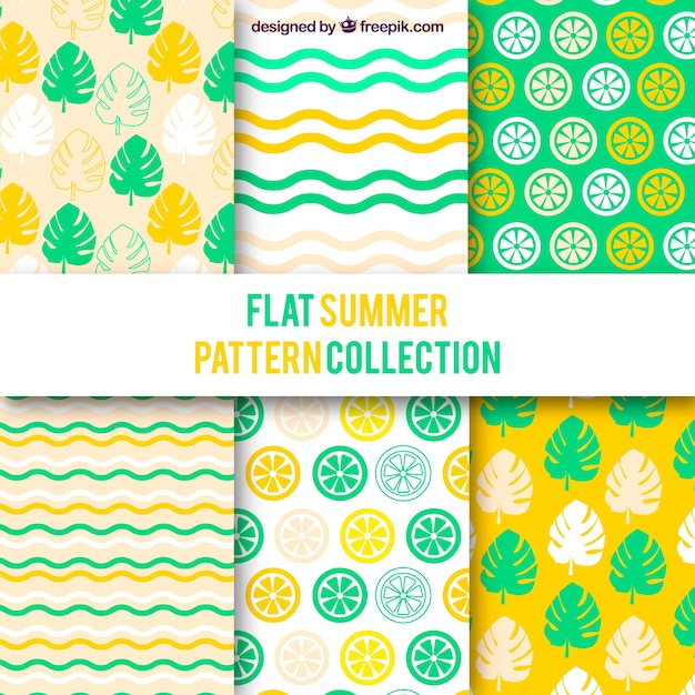 Summer patterns collection in flat style Free Vector