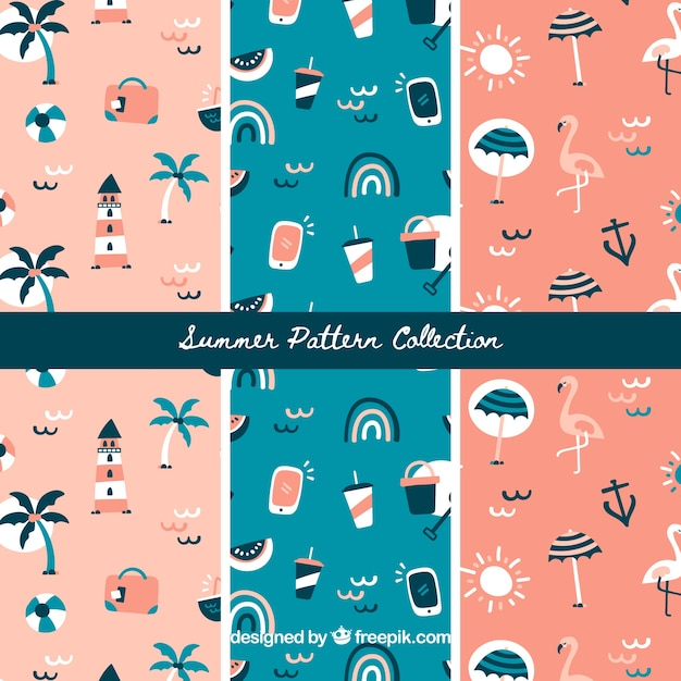 Summer patterns collection with beach\ elements