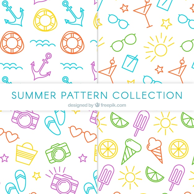 Summer patterns collection with beach elements Free Vector