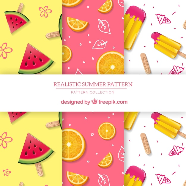 Summer patterns collection with flat elements Free Vector