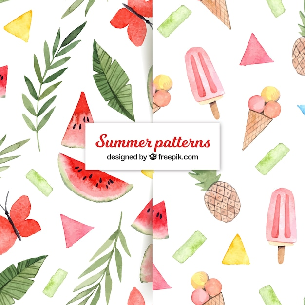 Summer patterns collection with food in watercolor style Free Vector