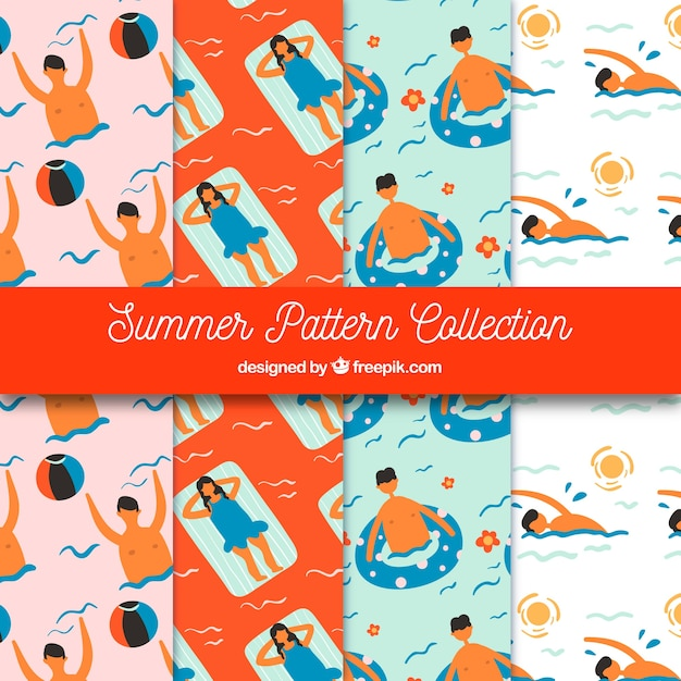 Summer patterns collection with people in the water Free Vector