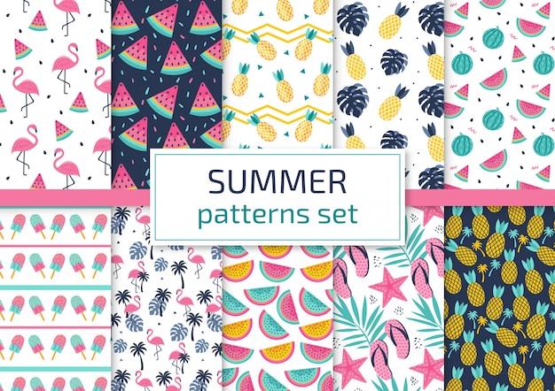 Summer patterns set Premium Vector