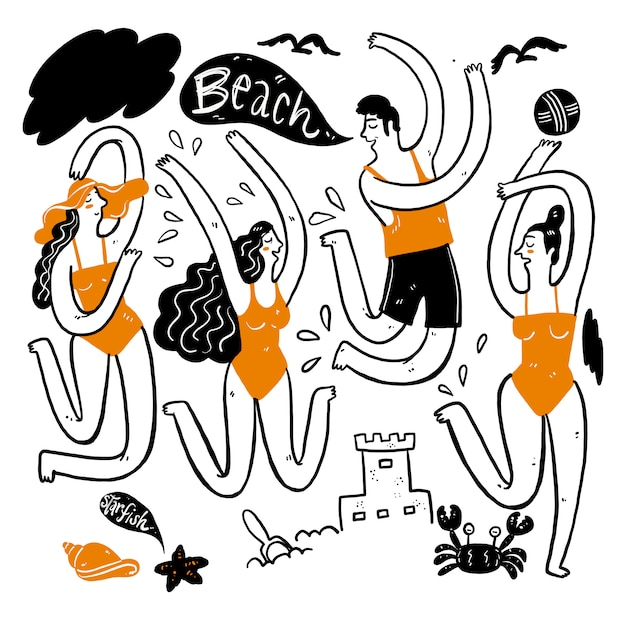Summer people collection Premium Vector