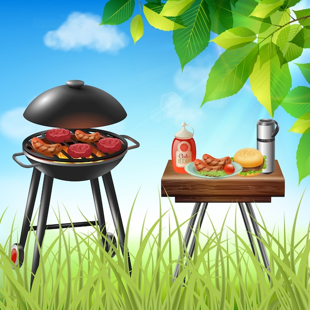 Summer picnic with sausages and burgers cooking on grill realistic illustration Free Vector