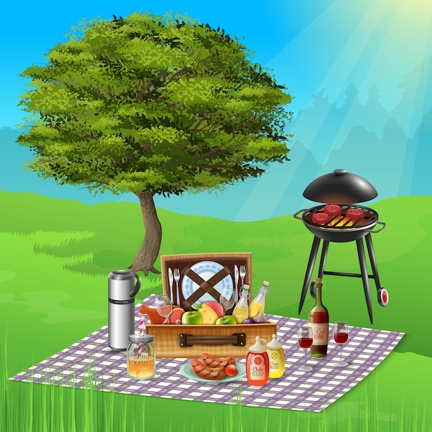 Summer picnic with wine cheese fruits and delicious bbq dishes cooking on grill realistic illustration Free Vector