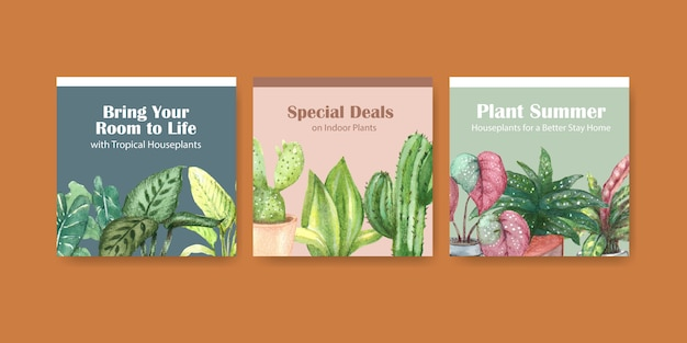 Летние растения и комнатные растения рекламируют дизайн шаблона для рекламы акварельной иллюстрации Бесплатные векторы