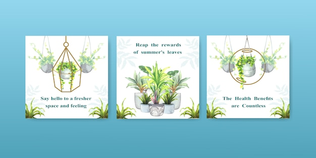 Summer plant and house plants advertise template design for leaflet, brocure and booklet watercolor illustration Free Vector