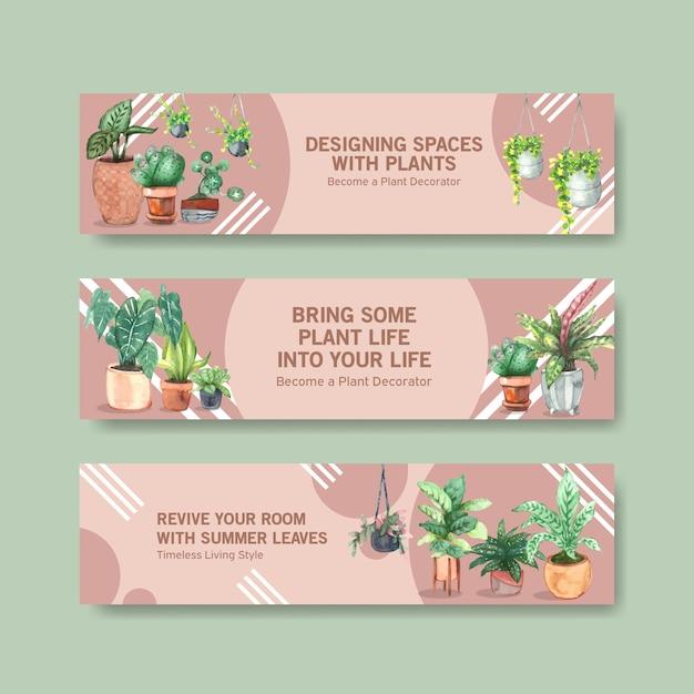 Летние растения баннер шаблон дизайн брошюры, листовки, реклама и буклет акварельные иллюстрации Бесплатные векторы