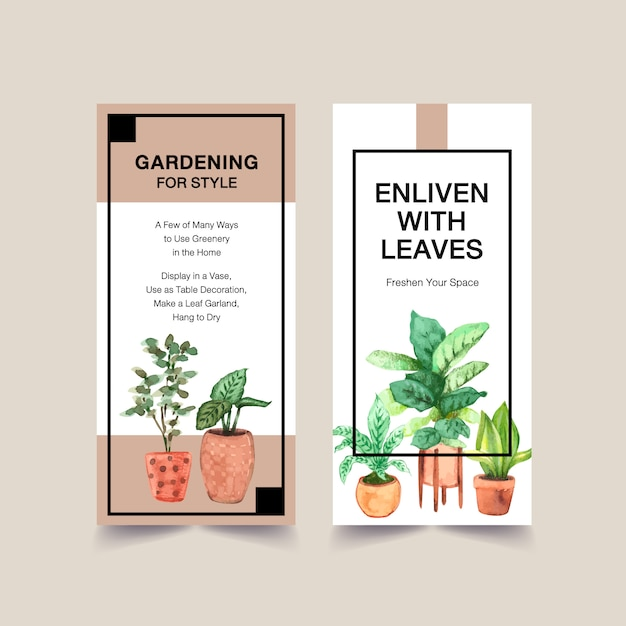 Summer plants flyer template design for leaflet, booklet, advertise watercolor illustration Free Vector