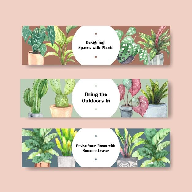夏の植物ヘッダーテンプレートデザイン 無料ベクター