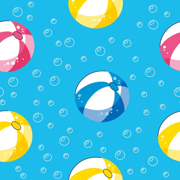 Summer pool floating with balls. seamless vector pattern Premium Vector