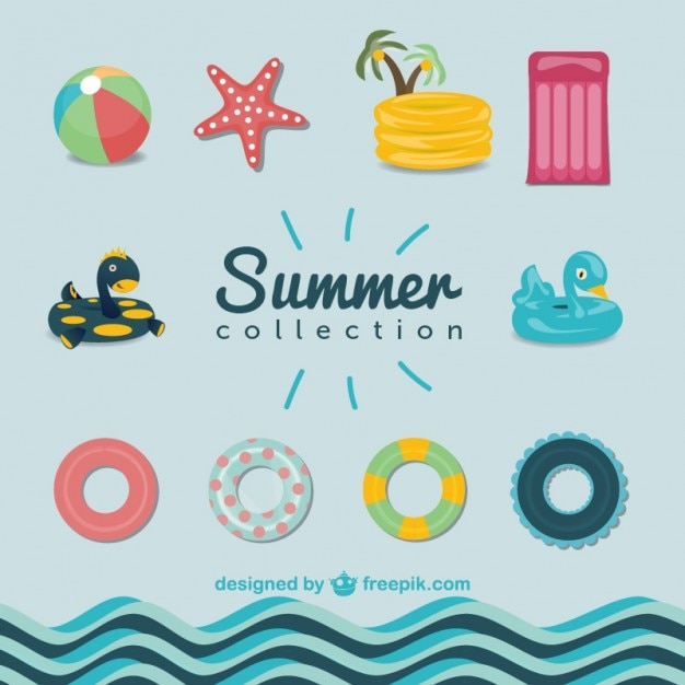 Summer pool graphics set vector free download for Pool design graphic