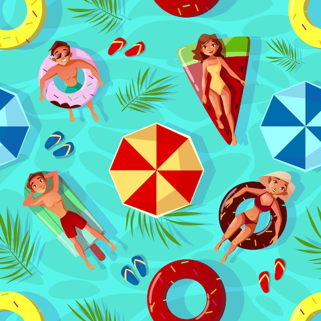 Summer pool illustration of seamless pattern background with people on swim rings i Free Vector