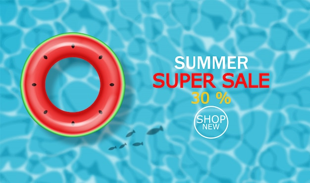 Summer pool and life ring banner Premium Vector