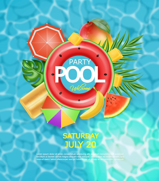 Summer pool and life ring poster Premium Vector