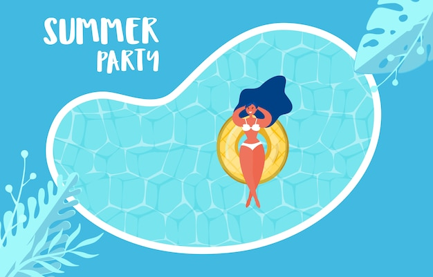 Summer pool party advertising design with girl on rubber ring. Premium Vector