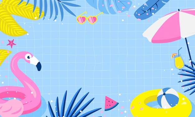 Summer pool party background design Premium Vector